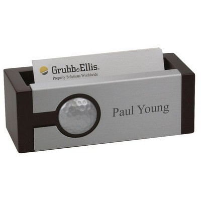 Golfers Wooden Business Card Holder