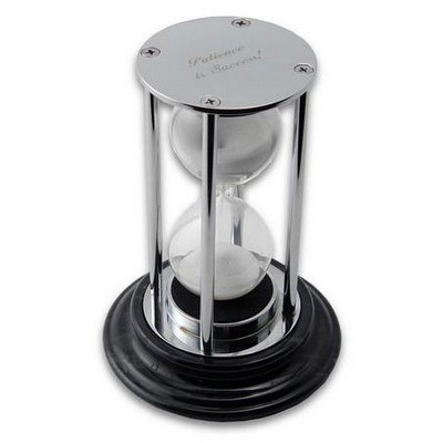 Elegant Chrome Silver Hourglass on Marble Base