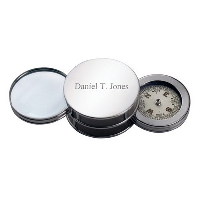 Silver Magnifier and Compass