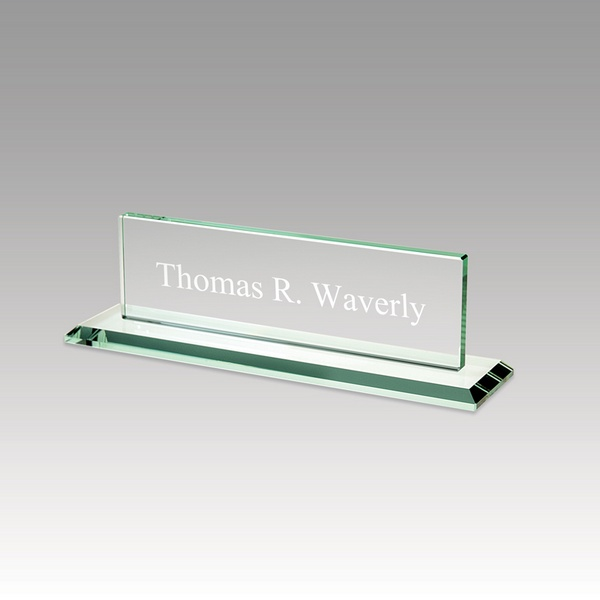personalized glass desk nameplate