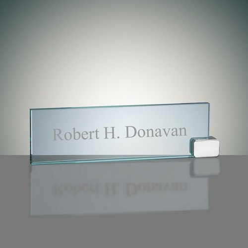 Chrome and Glass Desk Nameplate Holder