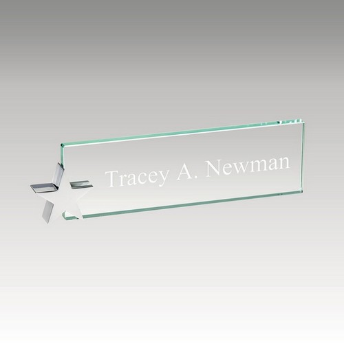 Chrome Star and Glass Nameplate Holder