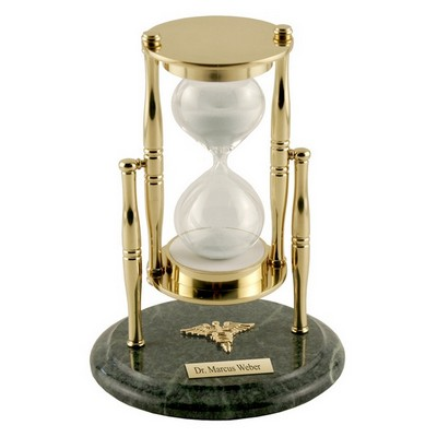 Personalized Brass and Marble Sand Timer Dentist Gift