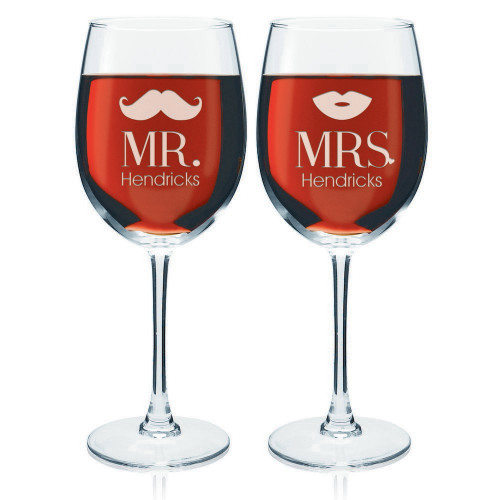 Mr and Mrs Personalized Wine Glass Set
