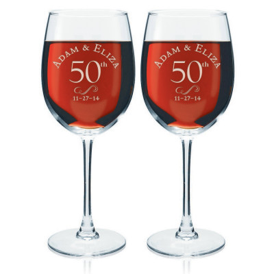 50th Anniversary Personalized Wine Glass Set