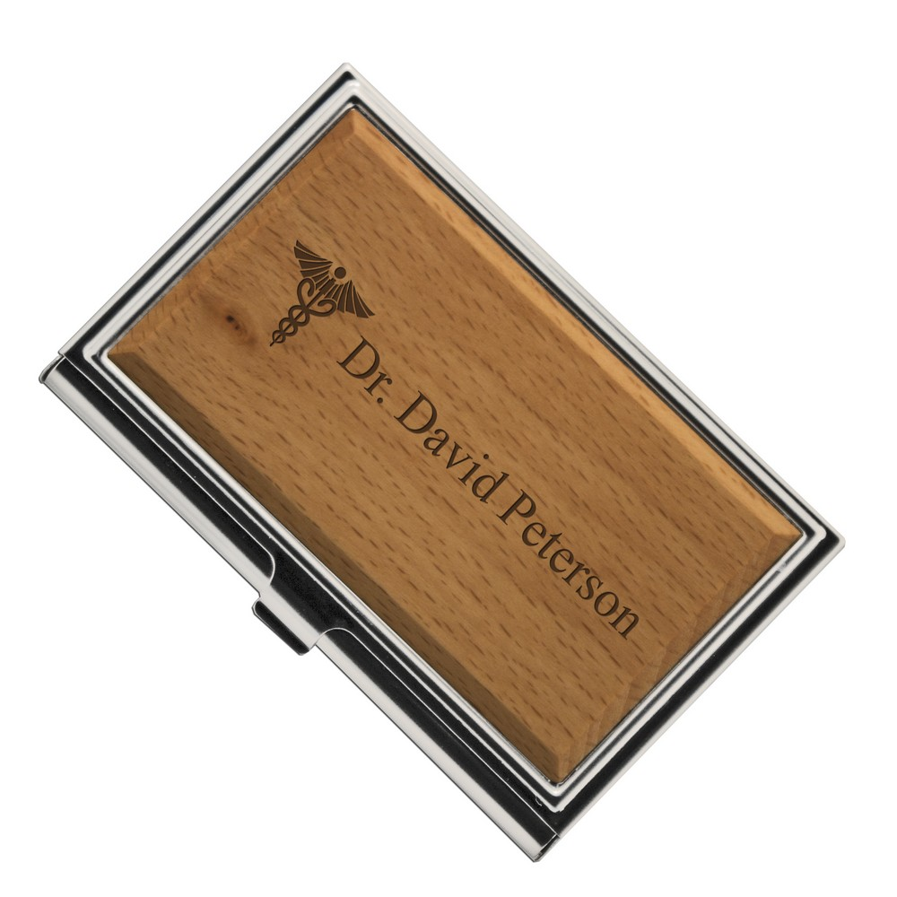 Medical Caduceus Symbol Wooden Business Card Holder