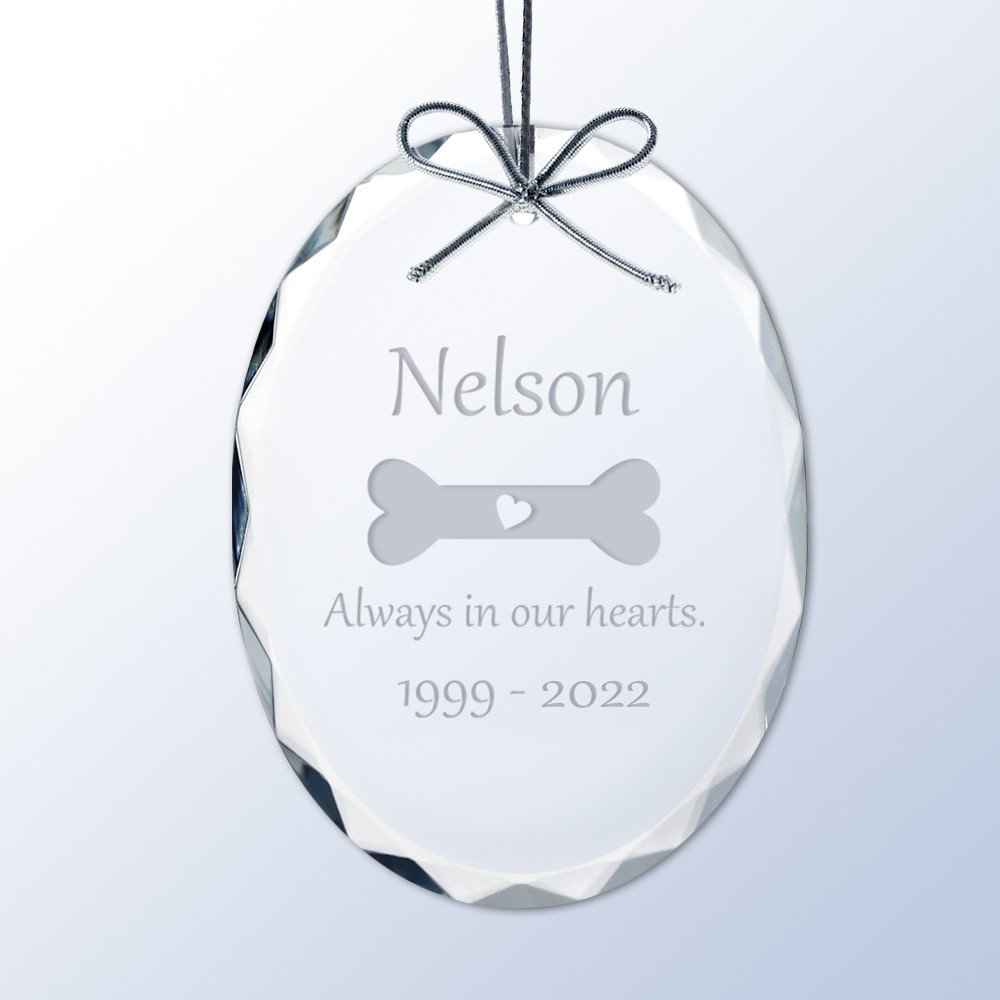 Pet memorial christmas ornaments - Dog Memorial Personalized Crystal Christmas Ornament