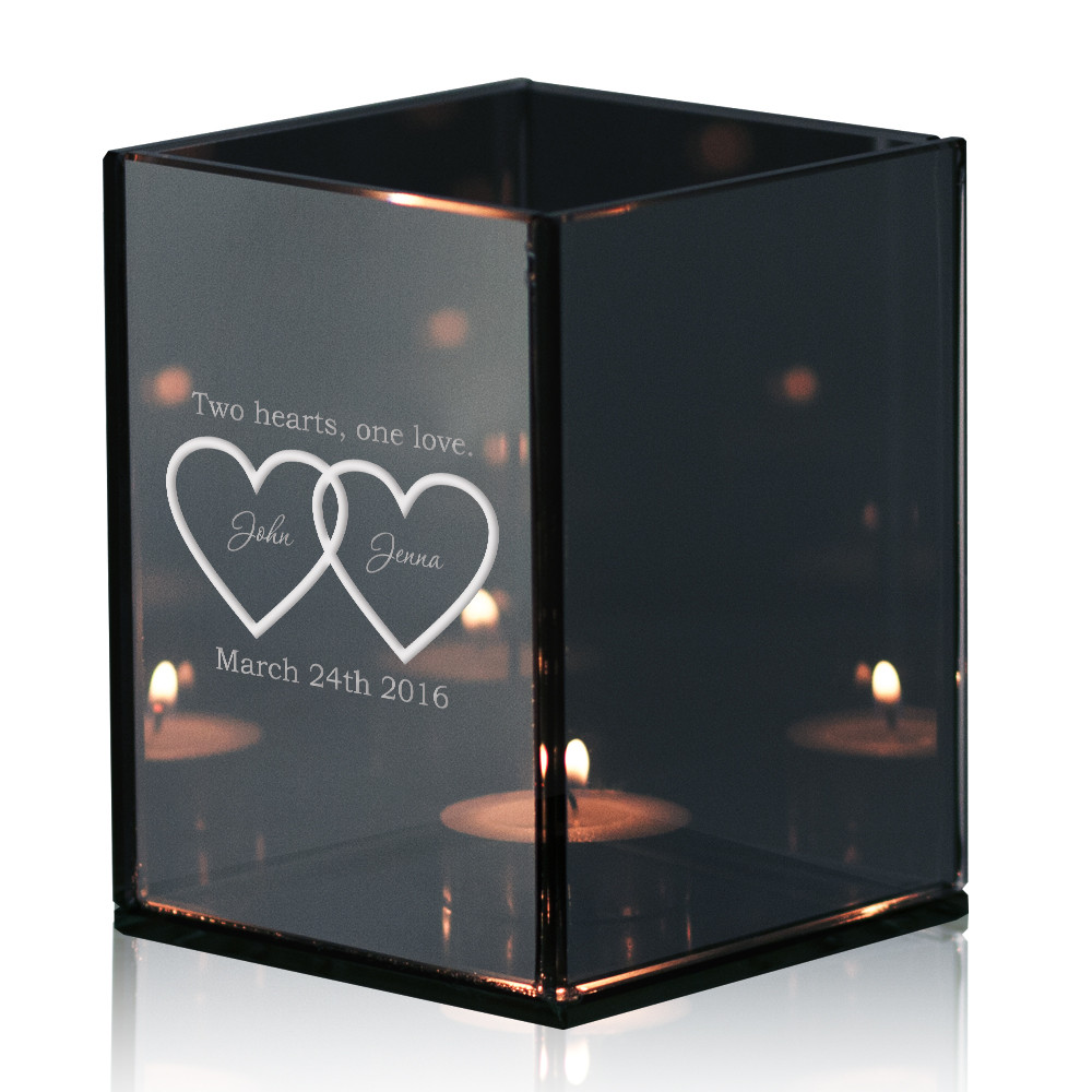 double heart personalized tea light candle holder. Black Bedroom Furniture Sets. Home Design Ideas