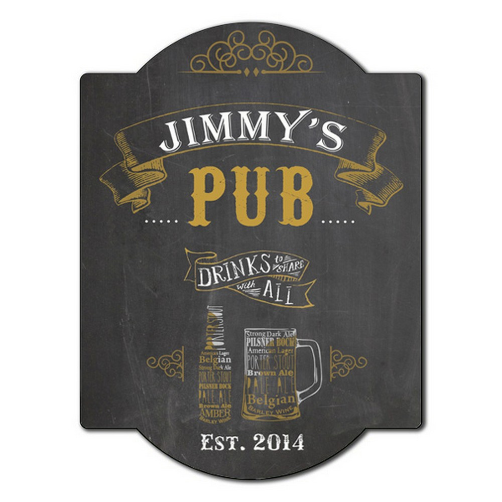 Drinks To Share Personalized Pub Sign