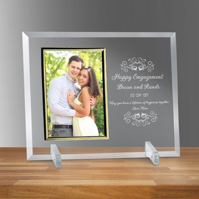 "Engagement Glass Horizontal 5"" x 7"" Photo frame"