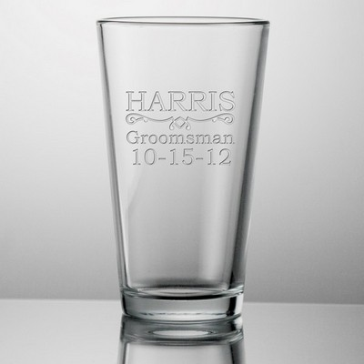 Engraved Groomsmen 16 oz Beer Glass