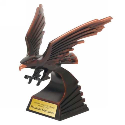 Engraved Bronze Resin Eagle Statue