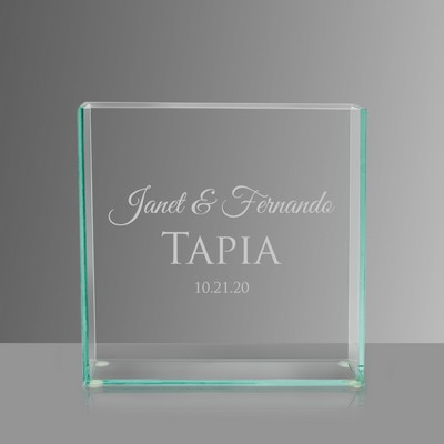Engraved Glass Vase with Couples Names