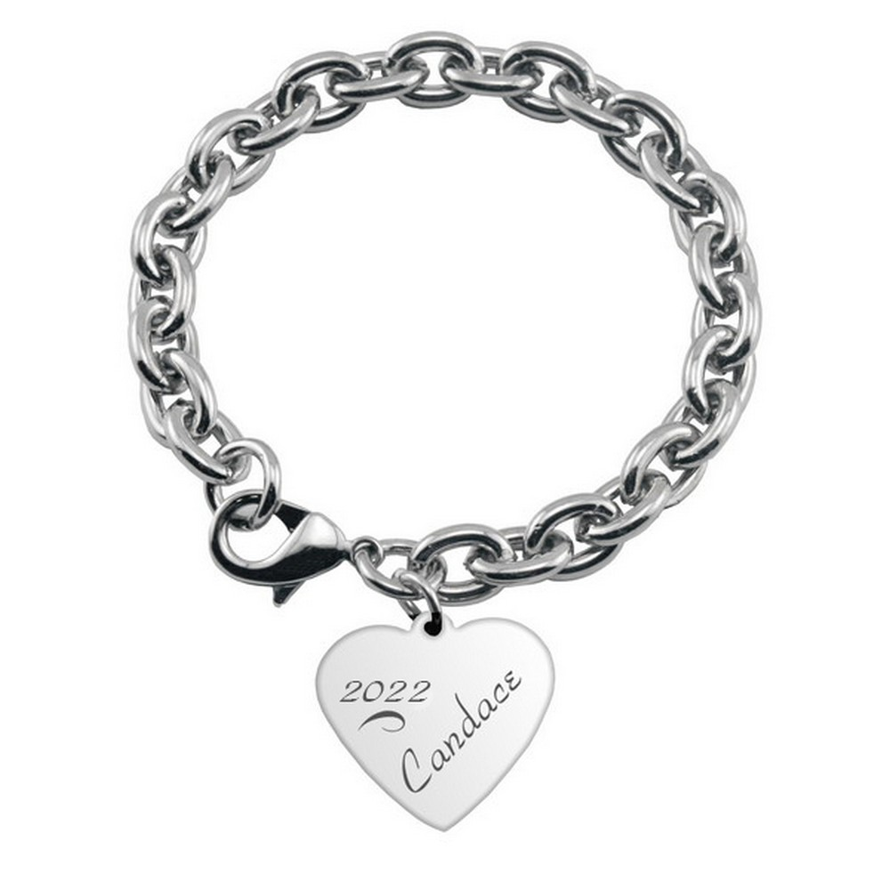 Engraved Charm Bracelet: Engraved Heart Charm Bracelet For Graduates