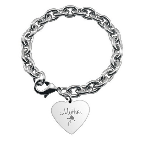 Engraved Heart Charm Bracelet for Mom