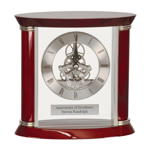 Engraved Rosewood and Silver Mantle Clock