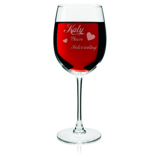 Engraved Hearts Wine Glass