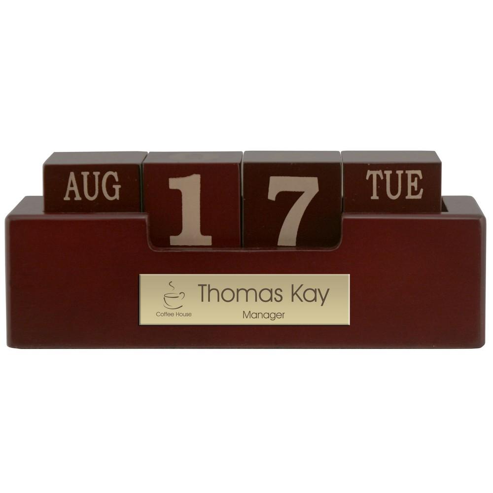 engraved wood perpetual desktop calendar with brass plate