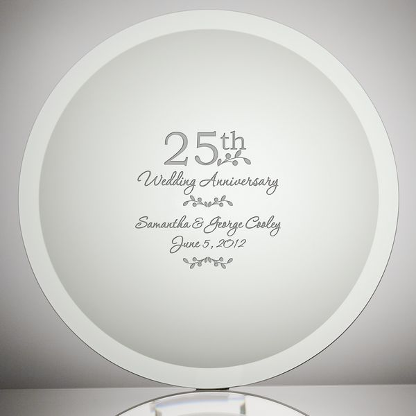 glass 25th wedding anniversary plate