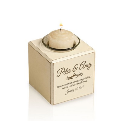 Eternal Love Personalized Wood Block Votive Candle Holder
