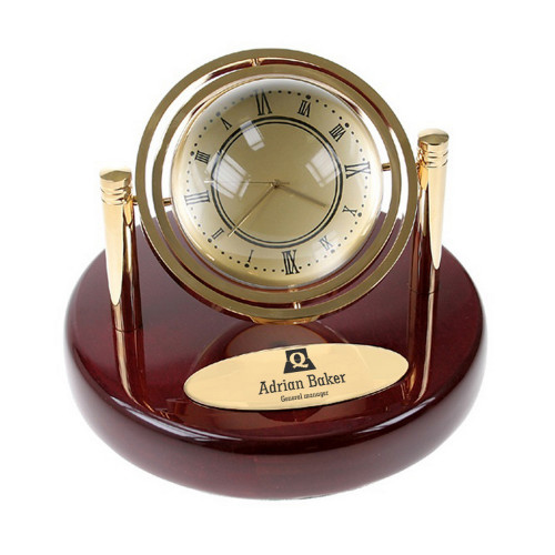 Executive Globe Clock on Rosewood Piano Finish Base