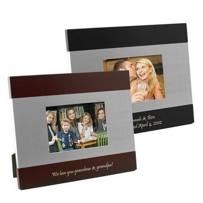Silver and Rosewood or Black Sleek Silhouette Photo Frame