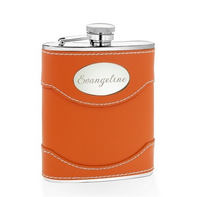 Orange Leather 6oz Personalized Flask