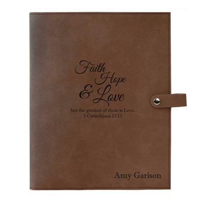 Faith Hope Love Dark Brown Leatherette Personalized Bible Book Cover