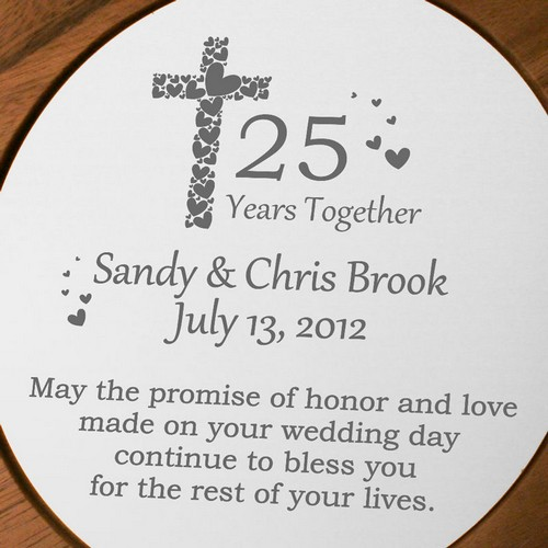 faith and love personalized 25th anniversary plate