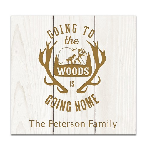 Family Camping White Pine Pallet Wall Decor