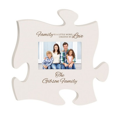 Family Love Personalized White Puzzle Piece Picture Frame