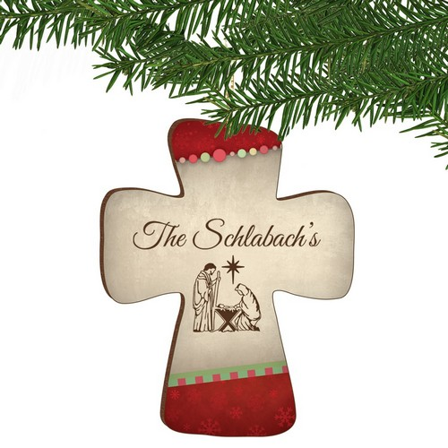 Family Nativity Personalized Cross Ornament