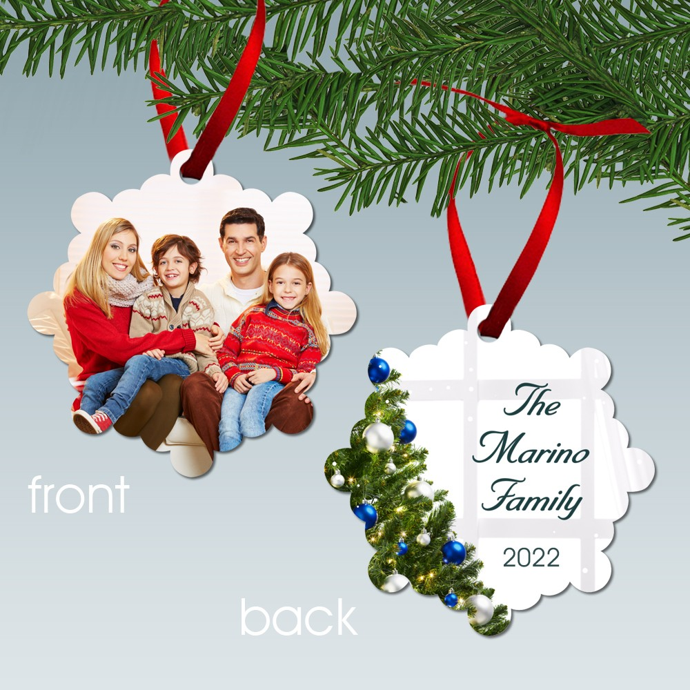 Christmas Ornaments Personalized.Family Photo Christmas Tree Personalized Metal Ornament