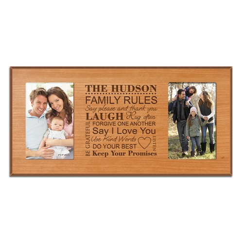 Family Rules Personalized Double 4x6 Cherry Picture Frame