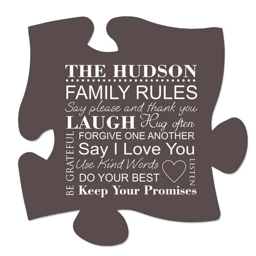Family Rules Puzzle Wall Plaque