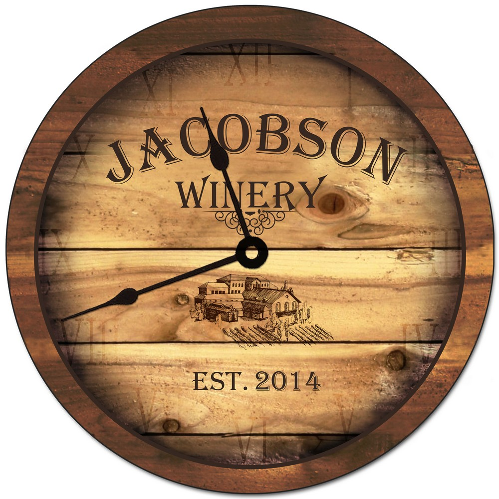 Family Winery Personalized Wall Clock