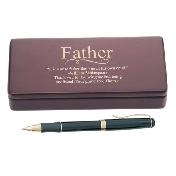 Personalized Pen Set for Dad| Engraved Fathers Day Wooden Pen Set