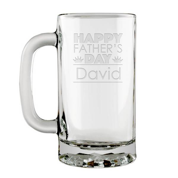 Unique Fathers Day Personalized Glass Beer Mug | Engraved Fathers Day  AT04
