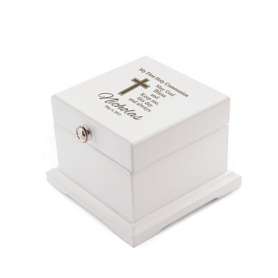 First Holy Communion White Wood Engraved Rosary Box