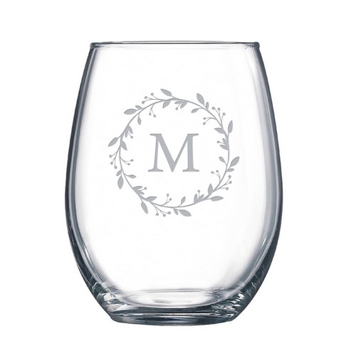 Floral Monogrammed Stemless Wine Glass