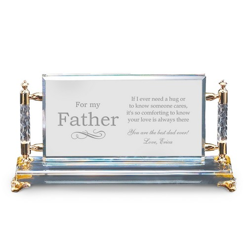 For My Father Personalized Crystal Gold Plaque