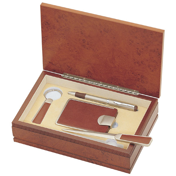 Wooden Office Gifts ~ Personalized piece genuine brown leather office gift set
