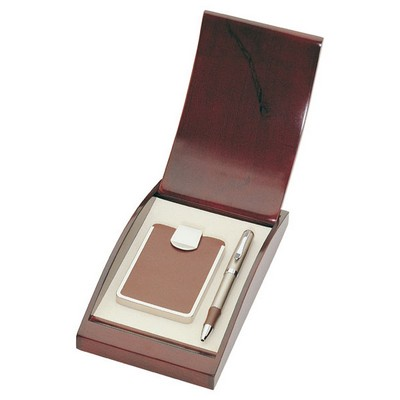 Brown Leather Business Card Holder with Pen Gift Box