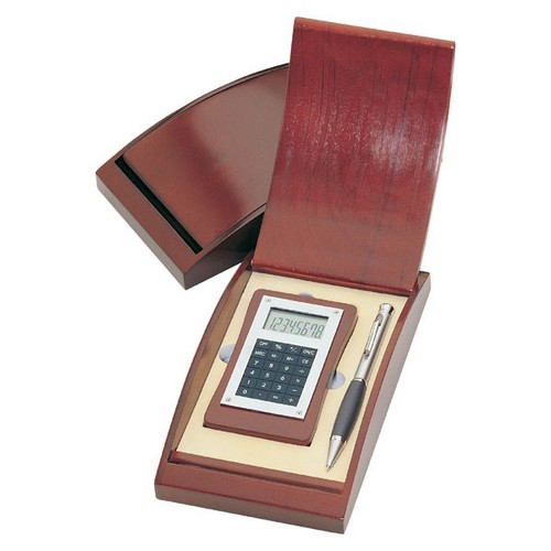 Personalized Wooden Calculator and Silver Pen Gift Set