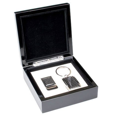 Black Carbon Fiber Look Keychain and Money Clip Gift Set