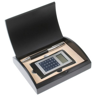Carbon Fiber Pen and Calculator Gift Set with Curved Black Gift Box