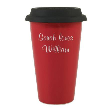 Red Porcelain Coffee Cup with Silicone Lid