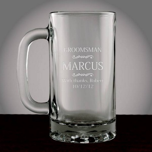 Personalized Groomsman Glass Beer Mug