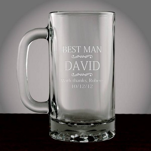 Personalized Best Man Glass Beer Mug