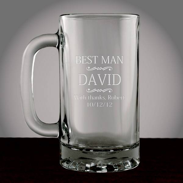 Best Man Wedding Gift Ideas: Personalized Best Man Glass Beer Mug